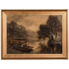 19th Century, English Oil Painting of a Father and Daughter Fishing on a Lake