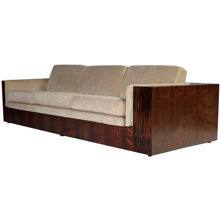 Milo Baughman Rosewood Case Sofa for Thayer Coggin For Sale