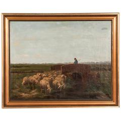 Antique 19th Century Oil Painting, Shepherd with Sheep Signed J. Meyer
