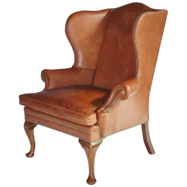 Amazing Ralph Lauren Leather Wingback Chair For Sale