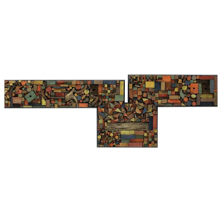 Large Painted Wood Abstract Wall Sculpture Construction