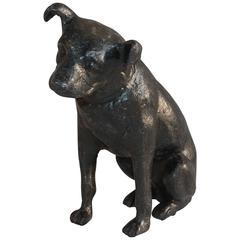 Monumental Sculpture Cast Iron Painted Dog