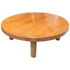 Charlotte Perriand Oak Round Low Coffee Table