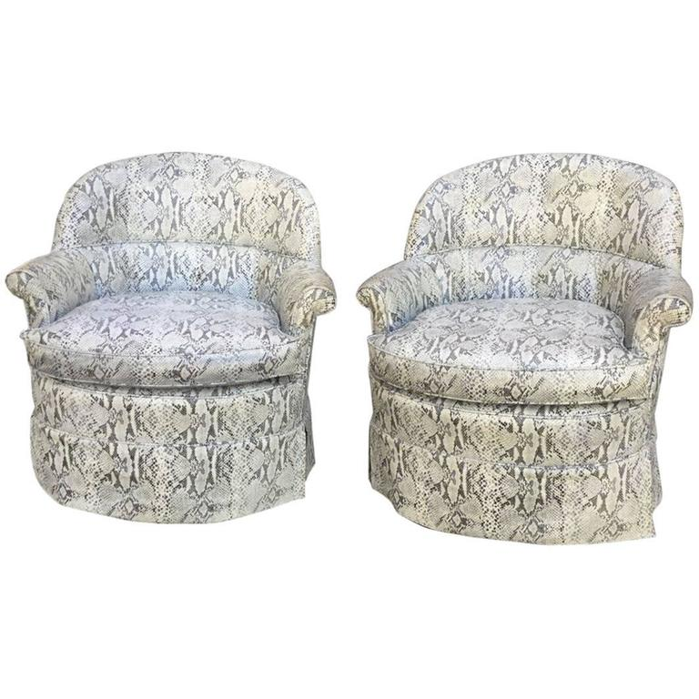 Pair Of French 1940s Faux Snakeskin Swivel Cub Chairs For Sale