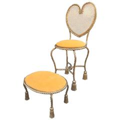 Italian Gilded Rope and Tasseled Chair and Ottoman