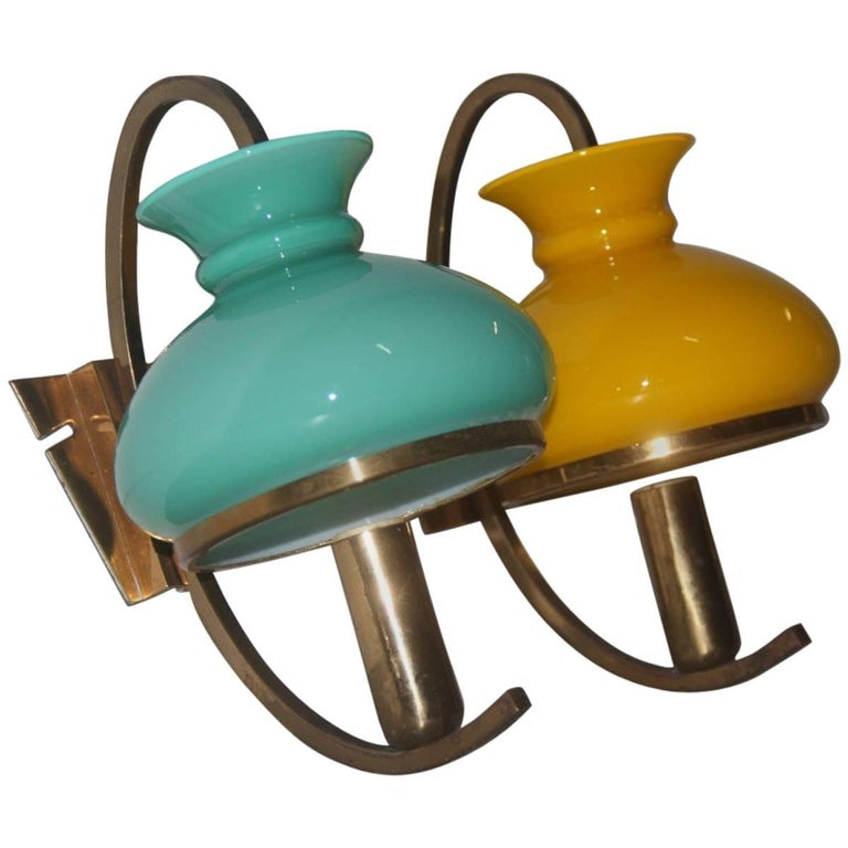 Particular Wall Sconces Different Color Italian Design, 1950s For Sale