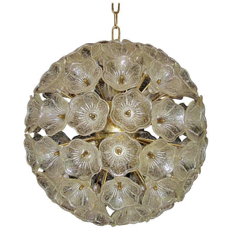 Large Sunburst Murano Glass Chandelier, Venini Style, 1960s 1