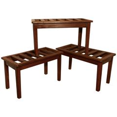 Set of Three 19th Century Mahogany Luggage Rack, Suitcase Stand