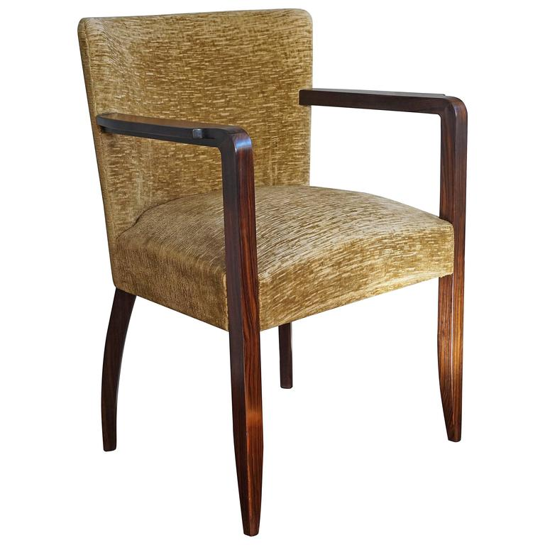 Stunning 1930s Hand-Crafted Solid Macassar Ebony Art Deco Armchair or Desk Chair