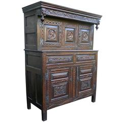 17th Century Carved Oak Court Cupboard, Cottage Livery Cupboard