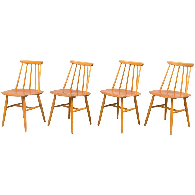 Dining Chairs by Ilmari Tapiovaara, Model Fanett 55 T For Sale