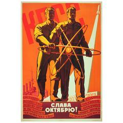 Original Vintage Soviet Propaganda Poster, USSR Glory to the October Revolution