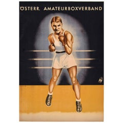 Original Vintage Sport Poster for an Amateur Boxing Competition
