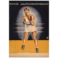 Original Vintage Sport Poster for an Amateur Boxing Competition