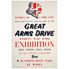 "Original World War II Poster ""Great Arms Drive Women's War Work Exhibition"""
