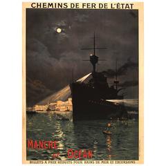 Original Antique Railway Poster Advertising Channel & Sea Trips: Manche Et Ocean