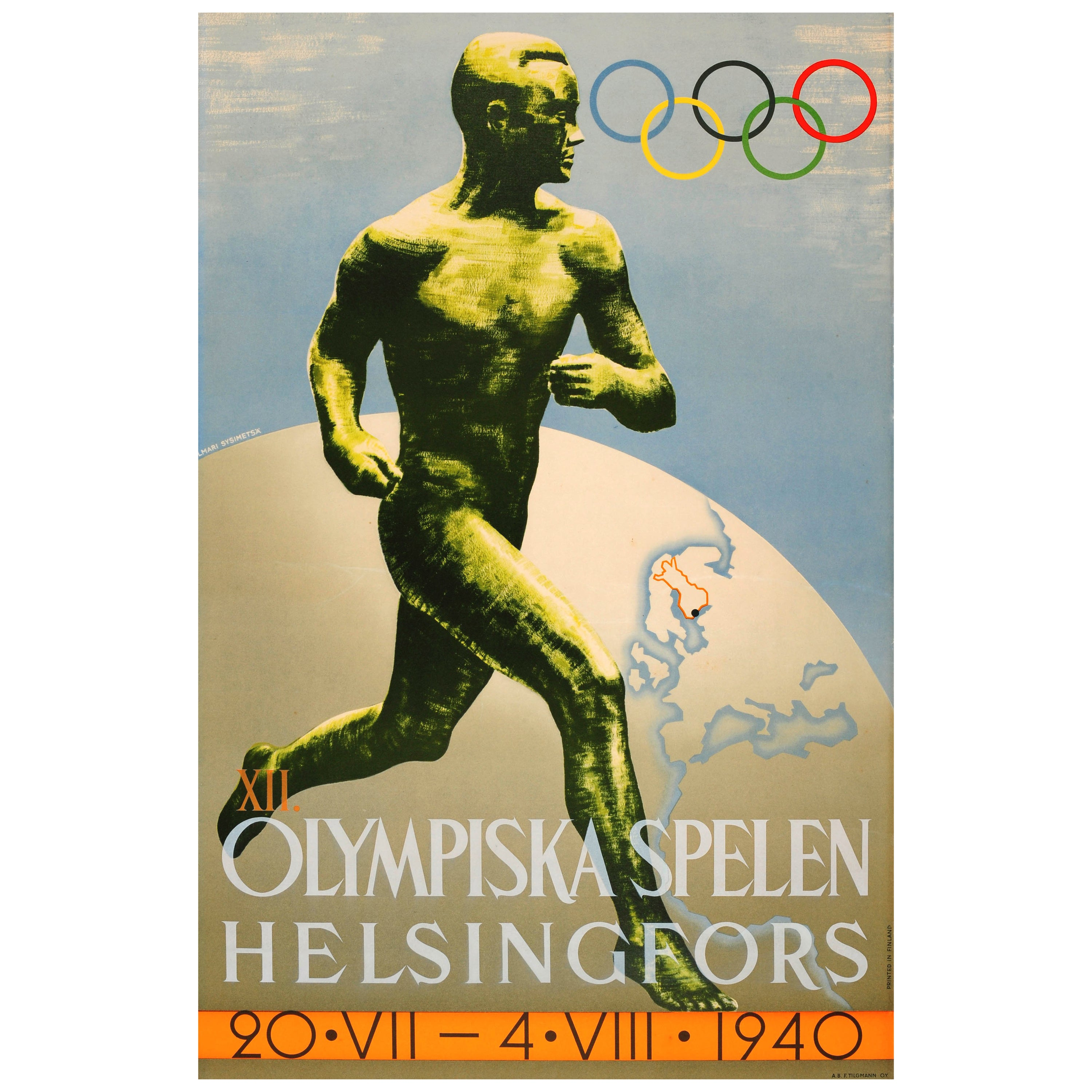 Original Vintage Olympics Sport Poster For The 1940 Summer Olympic Games Finland