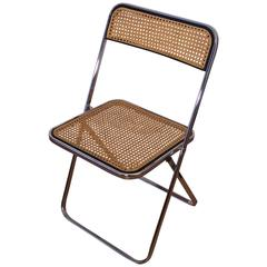 Castelli Style Chrome Folding Chair and Cane