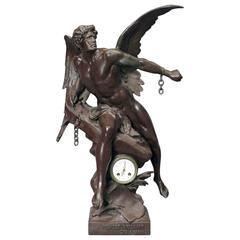 """Oversized Antique Classical Bronzed Clock Sculpture """"Lumen et Libertas"""""""