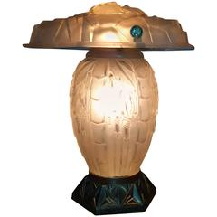 Stunning Art Deco White Table Lamp with Bronze Base Signed by Degué, France