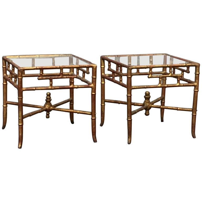 Superb Stylish Pair Of Gilt Metal Faux Bamboo End Tables For Sale