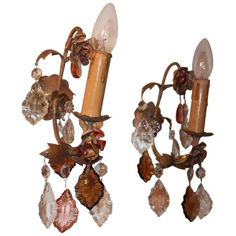 Pair of Wall Sconces with Multicolor Crystal Leafs, Italy, 1930s