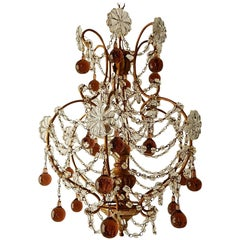 French Amethyst Murano Drops Crystal Chandelier, circa 1930