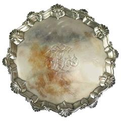 Antique English George III Sterling Silver Footed Salver, Hannam & Crouch
