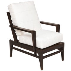Attributed to Rene Gabriel Dark Wood Oak Lounge Chair Mid-Century, France, 1950s
