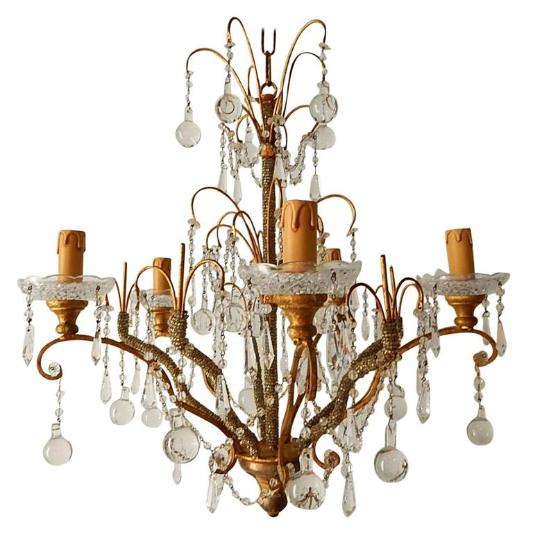French Micro Beaded Polychrome Murano Balls Crystal Chandelier, circa 1920 For Sale