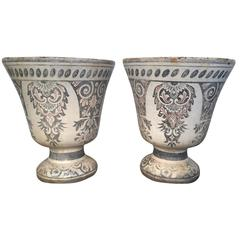 Pair Enameled Cast Iron Vases de Rouen from Oprah Winfrey's Personal Collection