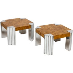 20th Century Milo Baughman Pace Burl Wood Pair Chrome Coffee Table, 1970