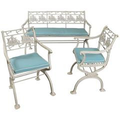 Rare Antique Cast Iron Ship and Anchor Bench and Pair of Chairs