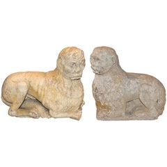 Pair of 18th Century Italian Carved Stone Lions