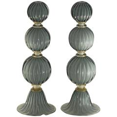 Alberto Donà Pair of Table Lamps, Rigadin Spheres, Gray over Lattimo, Gold Necks