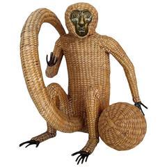 1970s Mario Lopez Torres Monkey with Ball Sculpture