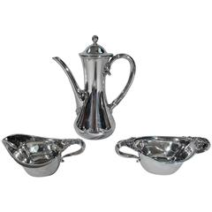 Tiffany Sterling Silver Coffee Set in Historic Clover Pattern