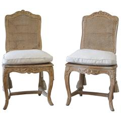 Pair of Antique French Country Carved Cane Side Chairs
