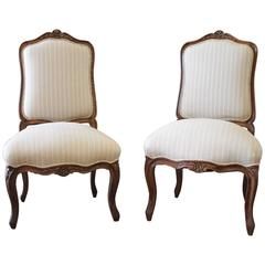 19th Century Pair of Walnut Carved Side Chairs Upholstered in Stripe Linen