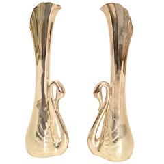 Pair of Art Nouveau Silver Plate Swan Bud Vases