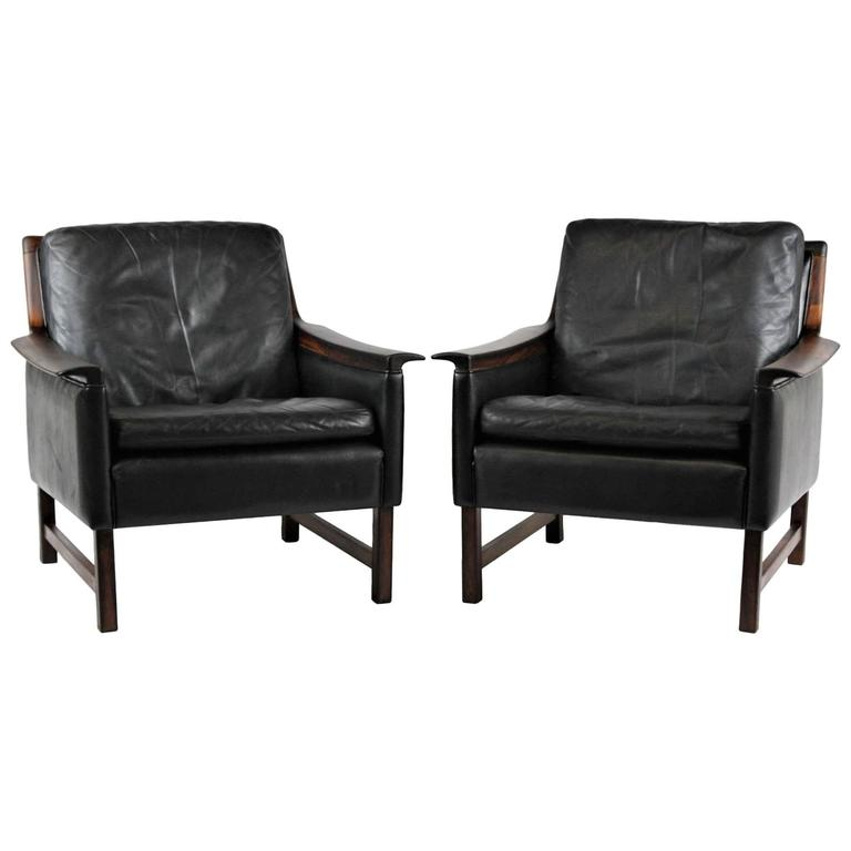 Superb Pair Of Black Leather Minerva Club Chairs By Torbjørn Afdal For Bruksbo,  1960s For Sale
