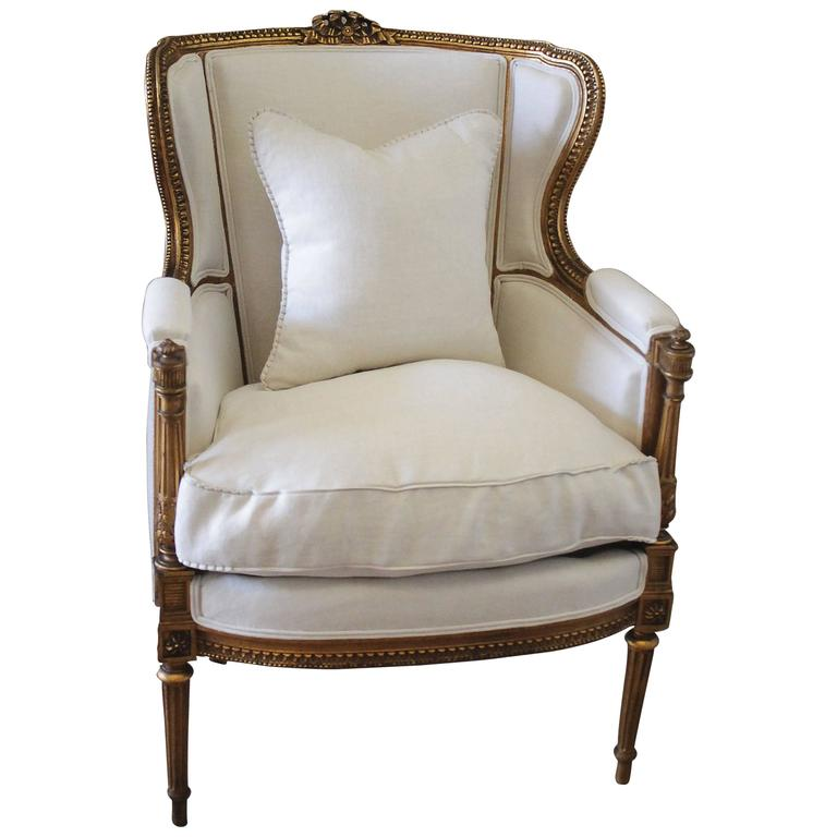 Antique Louis Xvi Style Gilt French Wing Chair With Linen Upholstery For