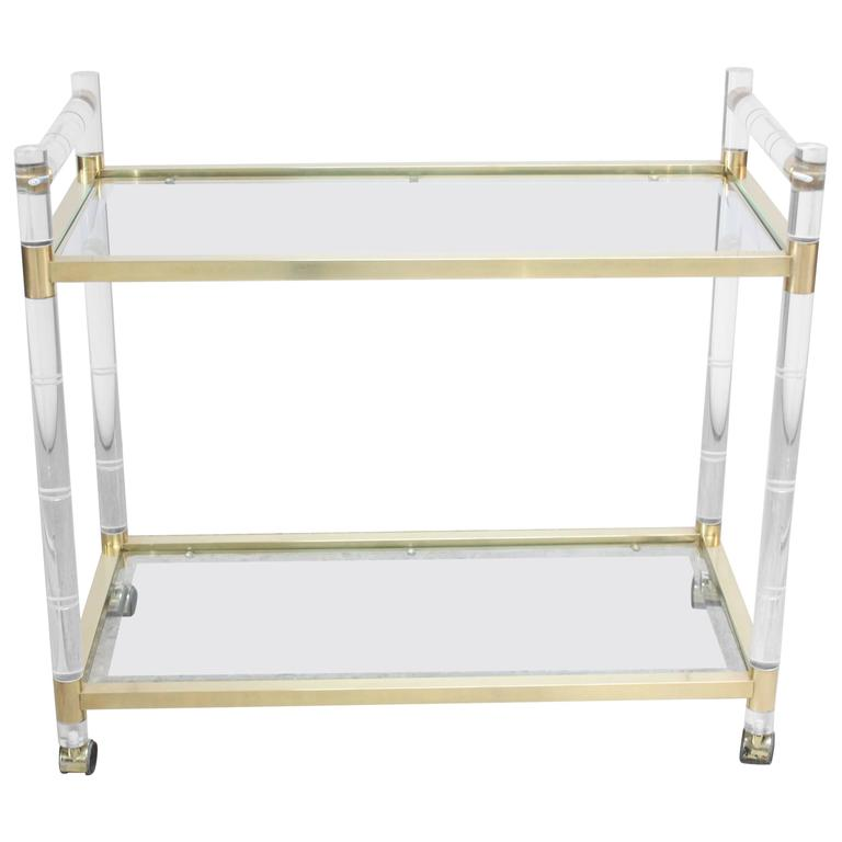 Charles Hollis Jones Lucite Faux-Bamboo and Brass Serving Cart For Sale