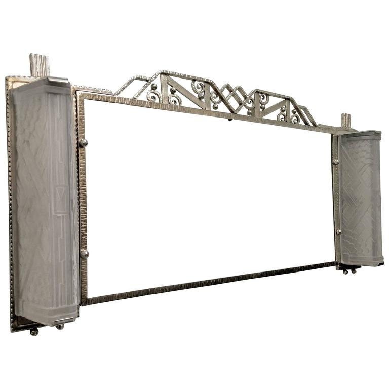French art deco wrought iron mirror for sale at 1stdibs for Wrought iron mirror