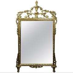 Large Vintage French Louis XIV Gilt Mirror with Rinceau & Palmette, circa 1950