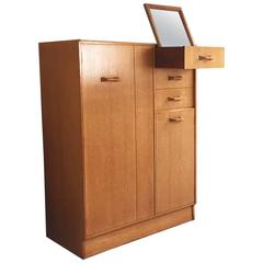G-Plan E Gomme Oak Tallboy / Small Wardrobe with Pop Up Mirror