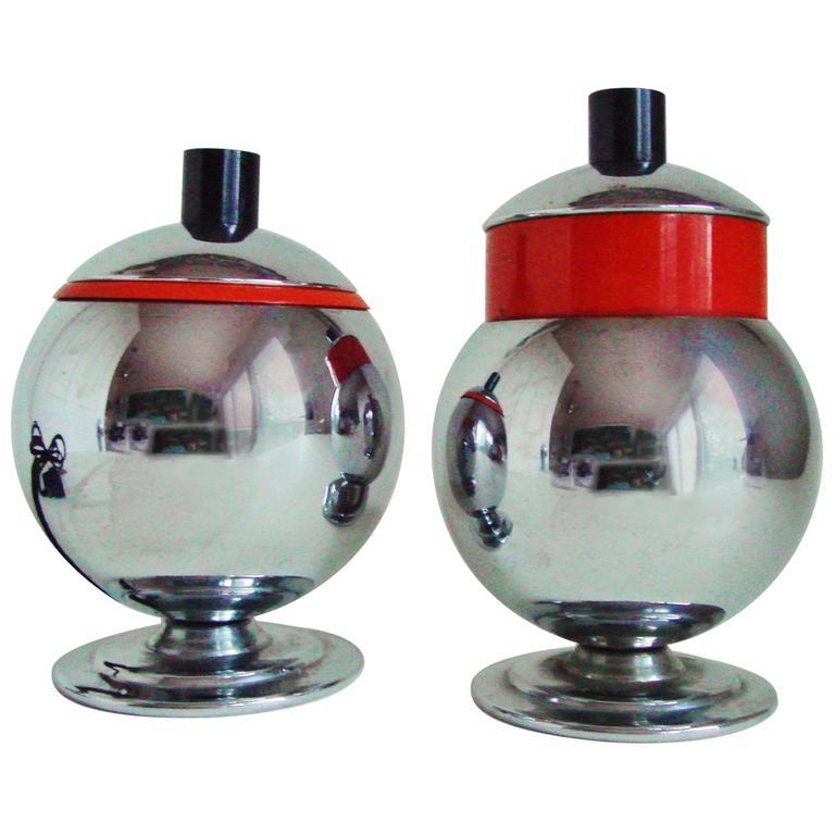 American Art Deco Chrome, Enamel & Bakelite Cigarette Box & Electric Lighter Set For Sale