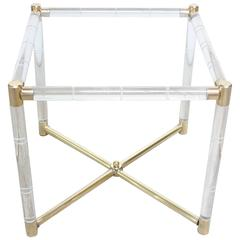 Charles Hollis Jones Lucite Faux-Bamboo and Brass Side Table