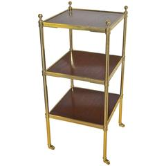 Regency Style Brass and Mahogany Three-Tier End Side Table