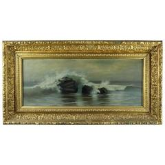 Antique Seascape Oil on Canvas Painting in Original Gilt Frame by A. Morton 1890